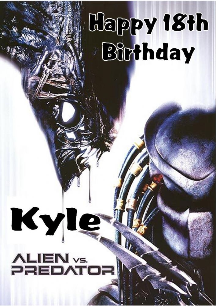 personalised alien vs predator birthday card